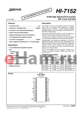 HI3-7152A-9 datasheet - 10-Bit High Speed A/D Converter with Track and Hold