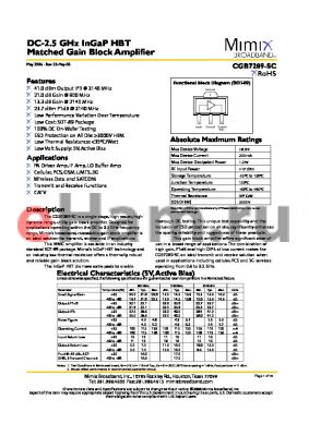 CGB7289-BD datasheet - DC-2.5 GHz InGaP HBT Matched Gain Block Amplifier