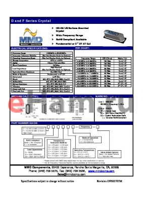 DSBC1 datasheet - HC-49/US Surface Mounted Crystal