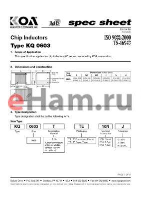 KQ0603TTER12 datasheet - Chip Inductors