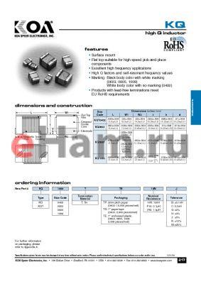 KQT0402TXX2N2 datasheet - highQinductor