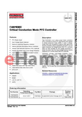 FAN7930CMX datasheet - Critical Conduction Mode PFC Controller