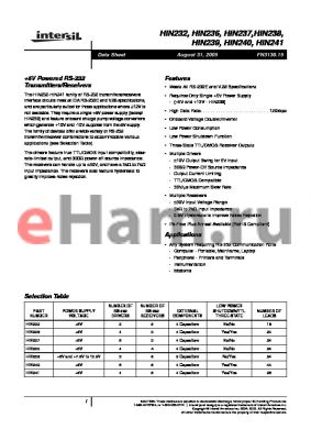 HIN239 datasheet - 5V Powered RS-232 Transmitters/Receivers