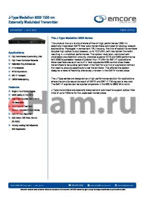 6000-0JD2-43012 datasheet - J-Type Medallion 6000 1550 nm Externally Modulated Transmitter