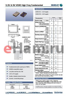 GVXO27 datasheet - 3.3V & 5V VCXO igh Freq Fundamental