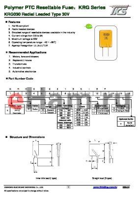 KRG0300800 datasheet - KRG030 Radial Leaded Type 30V