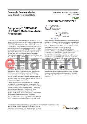 DSPB56724CAG datasheet - Symphony DSP56724/DSP56725 Multi-Core Audio Processors