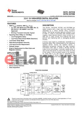 ISO721DUB datasheet - 3.3-V / 5-V HIGH-SPEED DIGITAL ISOLATORS