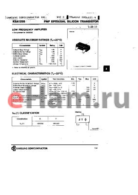 KSA1298 datasheet - PNP (LOW FREQUENCY AMPLIFIER)