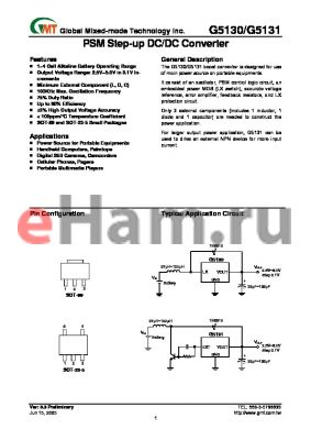 G5131-49-T12U datasheet - PSM Step-up DC/DC Converter