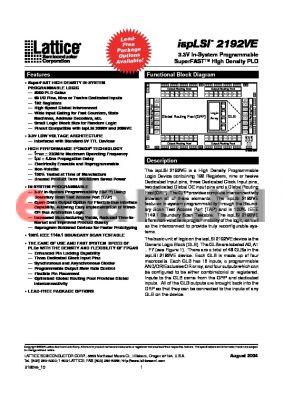 ISPLSI2192VE135LB144 datasheet - 3.3V In-System Programmable SuperFAST High Density PLD