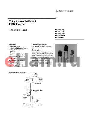 HLMP-1301-G00XX datasheet - T-1 (3 mm) Diffused LED Lamps