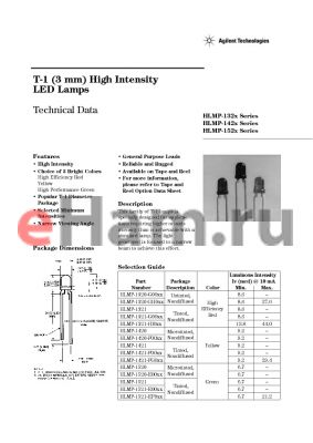 HLMP-1320-M0000 datasheet - T-1 (3 mm) High Intensity LED Lamps