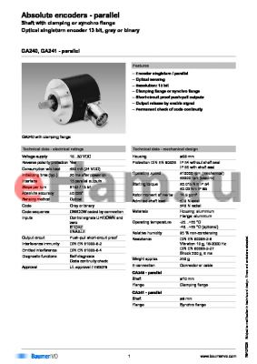 GA240.010C002 datasheet - Absolute encoders - parallel