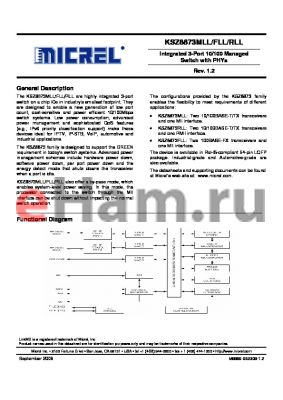 KSZ8873MLL_09 datasheet - Integrated 3-Port 10/100 Managed Switch with PHYs