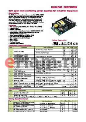 IBU60-308 datasheet - 63W Open frame switching power supplies for Industrial Equipment