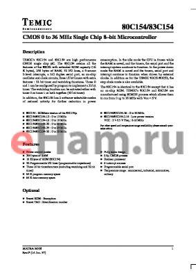 IV83C151C-25 datasheet - CMOS 0 to 36 MHz Single Chip 8-bit Microcontroller