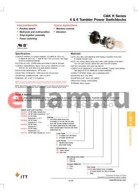 H200AATV2WCNB datasheet - 4 & 6 Tumbler Power Switchlocks