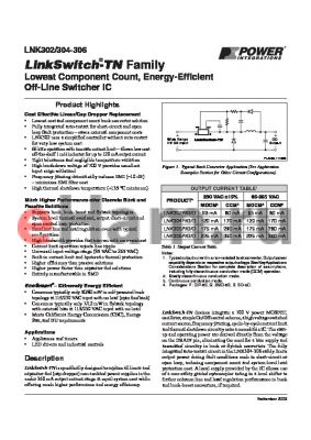 LNK304G datasheet - Lowest Component Count, Energy-Efficient Off-Line Switcher IC