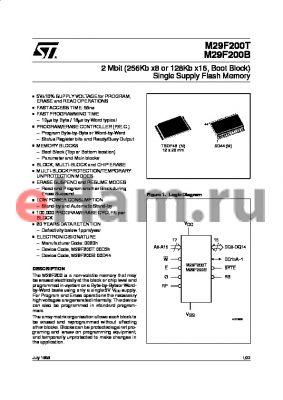 M295V200T-70N6TR datasheet - 2 Mbit 256Kb x8 or 128Kb x16, Boot Block Single Supply Flash Memory