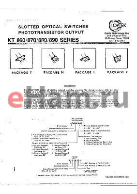 KT881L55 datasheet - SLOTTED OPTICAL SWITCHES PHOTOTRAMSISTOR OUTPUT