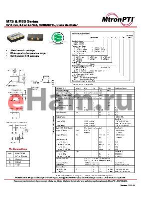 M8S45TCJ-R datasheet - 9x14 mm, 5.0 or 3.3 Volt, HCMOS/TTL, Clock Oscillator