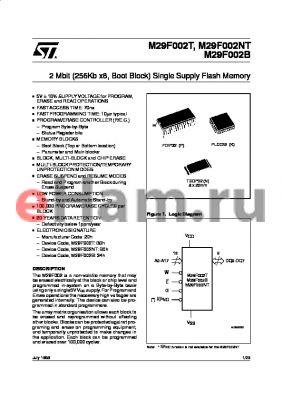 M29F002B-70K6TR datasheet - 2 Mbit 256Kb x8, Boot Block Single Supply Flash Memory