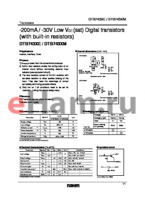 DTB743XE datasheet - -200mA / -30V Low VCE (sat) Digital transistors (with built-in resistors)