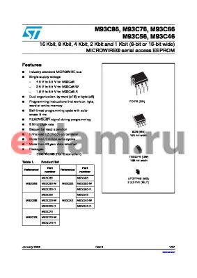 M93C46-RMB6G datasheet - 16Kbit, 8Kbit, 4Kbit, 2Kbit, 1Kbit and 256bit 8-bit or 16-bit wide