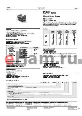 KUHP-11D57-120 datasheet - 30 Amp Power Relays