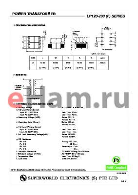 LP120-200 datasheet - POWER TRANSFORMER