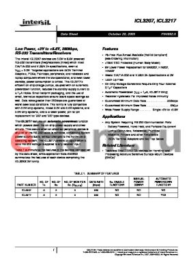 ICL3207IA datasheet - Low Power, 3V to 5.5V, 250kbps, RS-232 Transmitters/Receivers