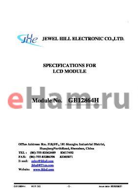 GB12864HNYBBMUB-V01 datasheet - SPECIFICATIONS FOR LCD MODULE