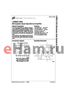 LP2902N datasheet - Micropower Quad Operational Amplifier