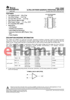 LP2902NE4 datasheet - ULTRA-LOW-POWER QUADRUPLE OPERATIONAL AMPLIFIERS