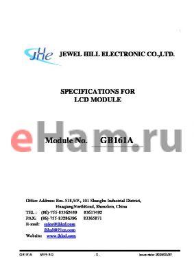 GB161AHGBBMDA-V01 datasheet - SPECIFICATIONS FOR LCD MODULE