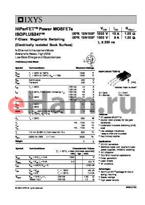 IXFR10N100F datasheet - HiPerFET Power MOSFETs ISOPLUS247