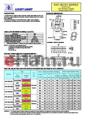 KW1-801A32 datasheet - Multi-Color LED Numeric Display Single Digit (0.80)