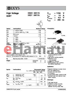 IXGH6N170 datasheet - High Voltage IGBT