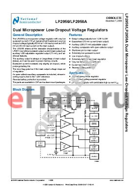 LP2956A datasheet - Dual Micropower Low-Dropout Voltage Regulators
