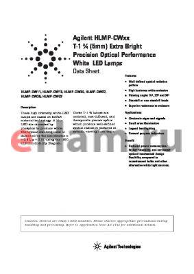 HLMP-CW26-1S000 datasheet - T-1 3/4 (5mm) Extra Bright  Precision Optical Performance Precision Optical Performance