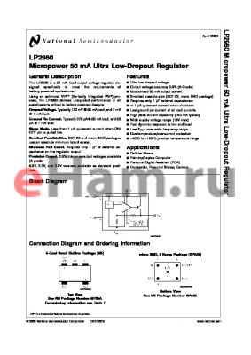 LP2980IM5-2.7 datasheet - Micropower 50 mA Ultra Low-Dropout Regulator