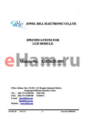 GB162ENGBANDA-V02 datasheet - SPECIFICATIONS FOR LCD MODULE