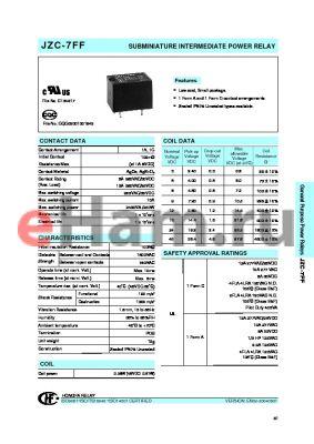 JZC-7FF0051HTS datasheet - SUBMINIATURE INTERMEDIATE POWER RELAY