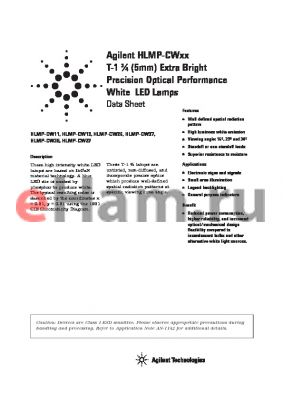 HLMP-CW27-TWB00 datasheet - T-1 3/4 (5mm) Extra Bright  Precision Optical Performance Precision Optical Performance