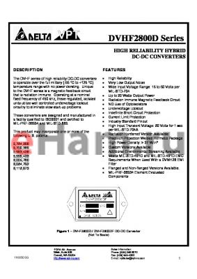 DVHF2815DF/H-XXX datasheet - HIGH RELIABILITY HYBRID DC-DC CONVERTERS