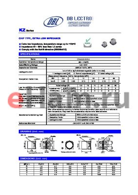 KZ2A221KS datasheet - CHIP TYPE, EXTRA LOW IMPEDANCE