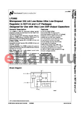 LP2992AILD-3.3 datasheet - Micropower 250 mA Low-Noise Ultra Low-Dropout Regulator in SOT-23 and LLP Packages Designed for Use with Very Low ESR Output Capacitors