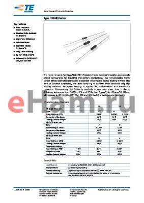 H810RFCB datasheet - Axial Leaded Precision Resistors