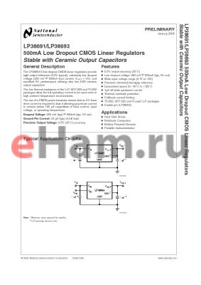 LP38693 datasheet - 500mA Low Dropout CMOS Linear Regulators Stable with Ceramic Output Capacitors